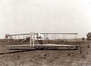 1904 Wright Bros plane on launching track, Huffman Prairie, Dayton, Ohio 1904